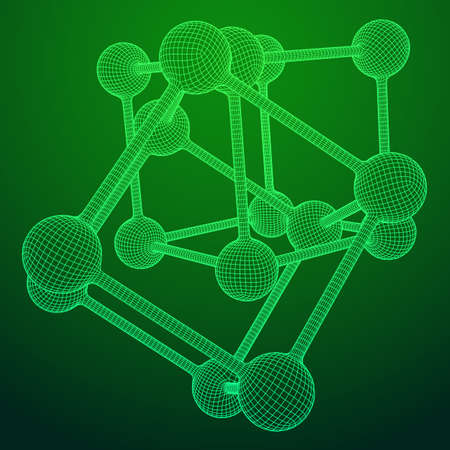 Wireframe Mesh Molecule Grid. Connection Structure. Low poly vector illustration. Science and medical healthcare concept Standard-Bild - 114621328