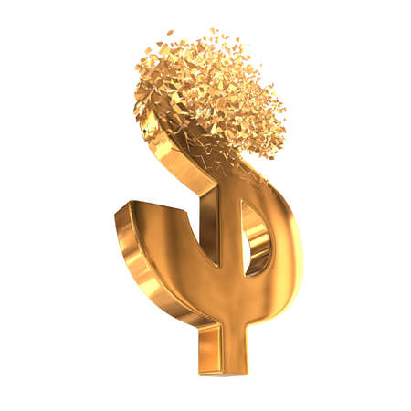 Fractured Gold Dollar value with disappearing effect. Financial crisis concept. 3d render isolated on white