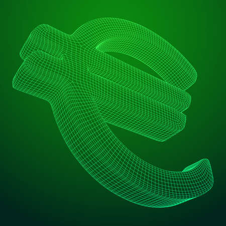 Euro sign abstract model line and composition digitally drawn. Wireframe low poly mesh vector illustration
