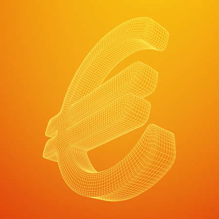 Euro sign abstract model line and composition digitally drawn. Wireframe low poly mesh vector illustration Векторная Иллюстрация
