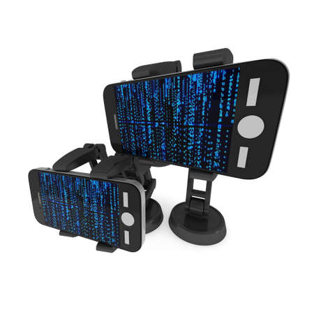 Robotic arm hold smartphone with Binary Computer Code. Manufacture technology industry assembly mechanic hand 3d render illustration isolated on white