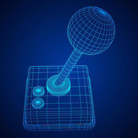 Retro video game controller gamepad joystick. Wireframe low poly mesh vector illustration