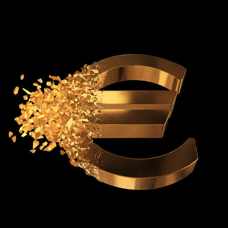 Fractured Euro value 3d model with disappearing effect. Financial crisis concept. 3d render on black background
