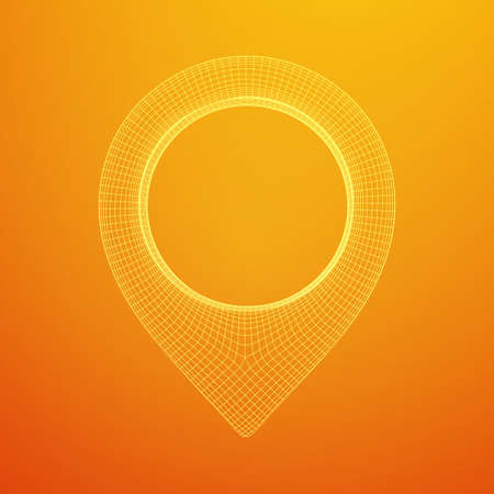 Geo map pin mesh. Place symbol GPS pictogram. Wireframe low poly mesh vector illustration