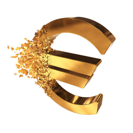 Fractured Euro value 3d model with disappearing effect. Financial crisis concept. 3d render isolated on white