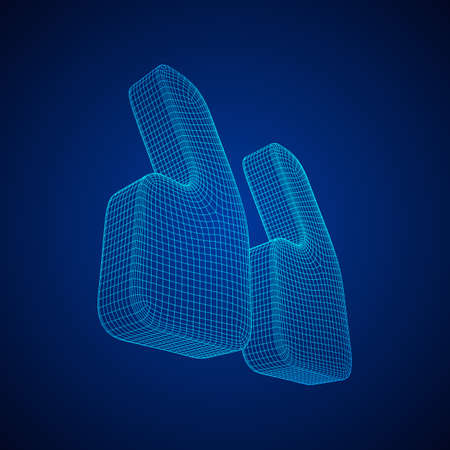 Quote comma sign abstract model line and composition digitally drawn. Wireframe low poly mesh vector illustration