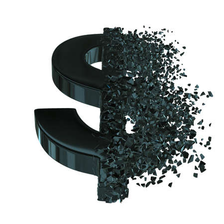 Fractured Dollar value with disappearing effect. Financial crisis concept. 3d render isolated on white