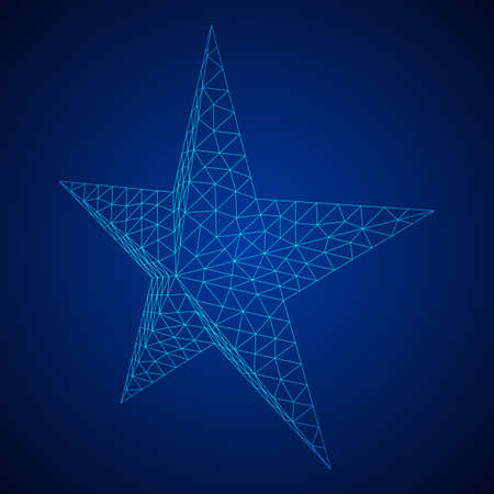 Five-pointed star. Abstract model wireframe low poly mesh vector illustration