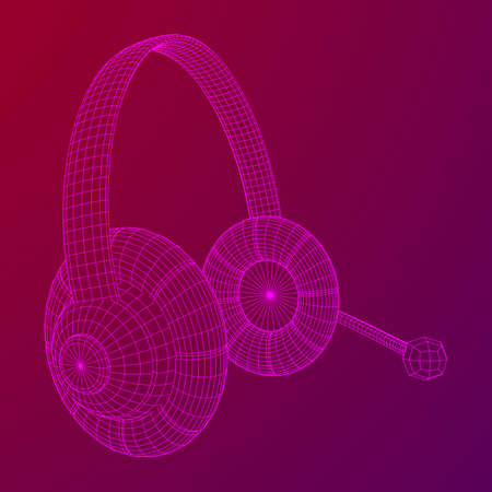 Headphone or headset for support from lines point connecting network. Abstract model wireframe low poly mesh vector illustration  イラスト・ベクター素材