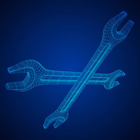 Wrench. Spanner repair tool. Mechanic or engineer instruments. Support service wireframe low poly mesh vector illustration Vecteurs