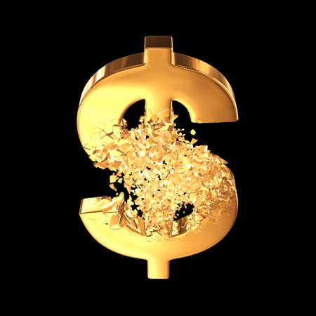 Fractured Gold Dollar value with disappearing effect. Financial crisis concept. 3d render on black background