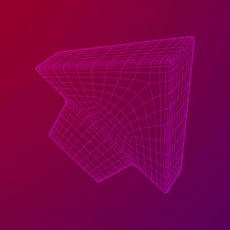 Arrow wireframe low poly mesh vector illustration