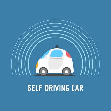 Automobile a guida autonoma. Sensori auto intelligente. Illustrazione di vettore del veicolo senza conducente.