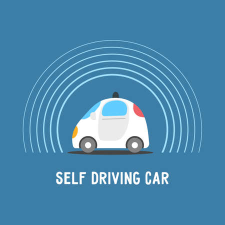 Autonomous self-driving automobile. Sensors smart car. Driverless vehicle vector illustration.