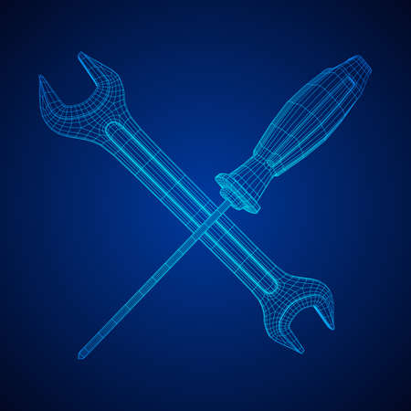 Wrench and screwdriver. Spanner repair tool. Mechanic or engineer instruments. Support service wireframe low poly mesh vector illustration