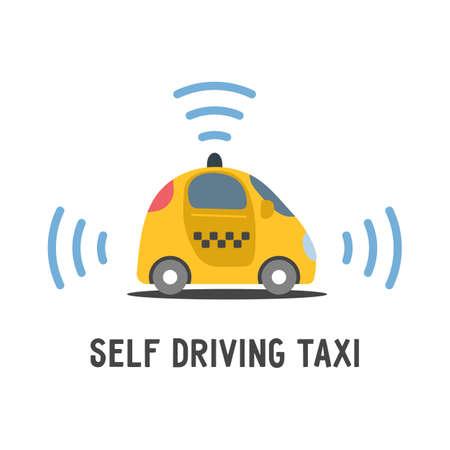 Autonomous self-driving automobile taxi. Sensors smart car. Driverless vehicle vector illustration.
