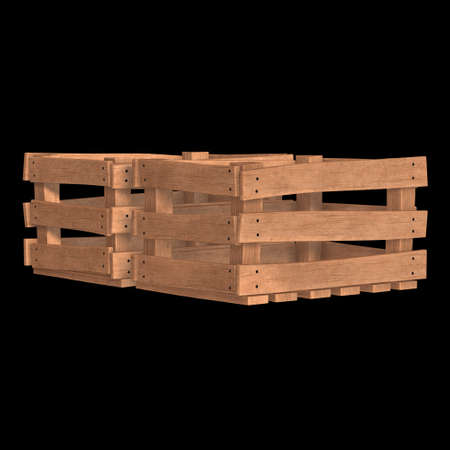 Wooden box for transportation and storage of products. Empty crate for fruits and vegetables. 3d render on black background. Banque d'images