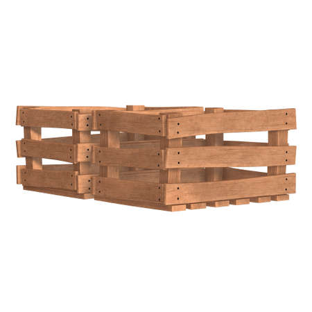 Wooden box for transportation and storage of products. Empty crate for fruits and vegetables. 3d render isolated on white background. Banque d'images - 117240351