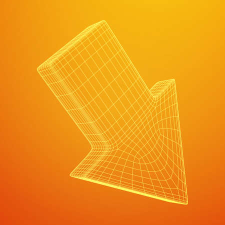 Arrow wireframe low poly mesh vector illustration Illustration