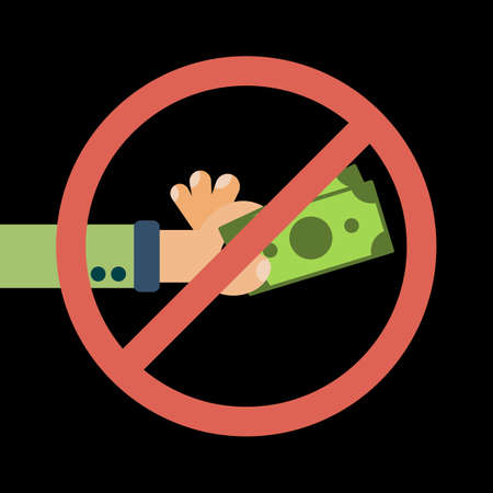 Hand hold cash money under forbidden Sign, financial bills. Concept of financial operations with cash, investments, money turnover, funding, bribe, donation, payday. Vector flat illustration