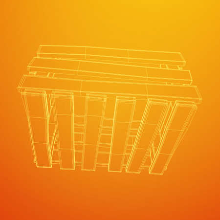 Wooden box for transportation and storage of products. Empty crate for fruits and vegetables. Model wireframe low poly mesh vector illustration Archivio Fotografico - 125162165