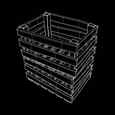 Wooden box for transportation and storage of products. Empty crate for fruits and vegetables. Model wireframe low poly mesh vector illustration Archivio Fotografico - 125162167