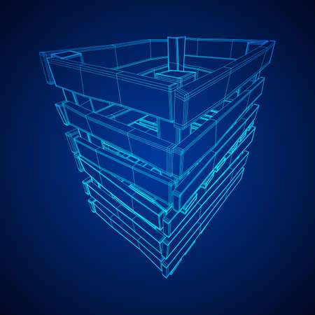 Wooden box for transportation and storage of products. Empty crate for fruits and vegetables. Model wireframe low poly mesh vector illustration Archivio Fotografico - 125162168