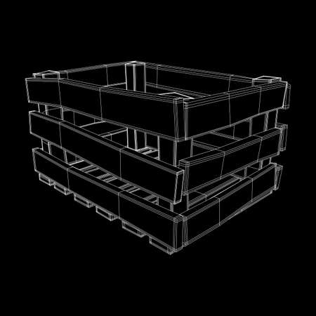 Wooden box for transportation and storage of products. Empty crate for fruits and vegetables. Model wireframe low poly mesh vector illustration Archivio Fotografico - 125162169