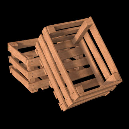 Wooden box for transportation and storage of products. Empty crate for fruits and vegetables. 3d render on black background. Banque d'images - 117240658