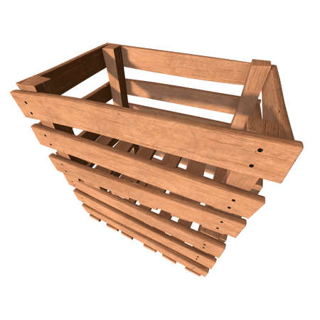 Wooden box for transportation and storage of products. Empty crate for fruits and vegetables. 3d render isolated on white background. Banque d'images - 117240659