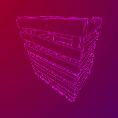 Wooden box for transportation and storage of products. Empty crate for fruits and vegetables. Model wireframe low poly mesh vector illustration Banque d'images - 124782627