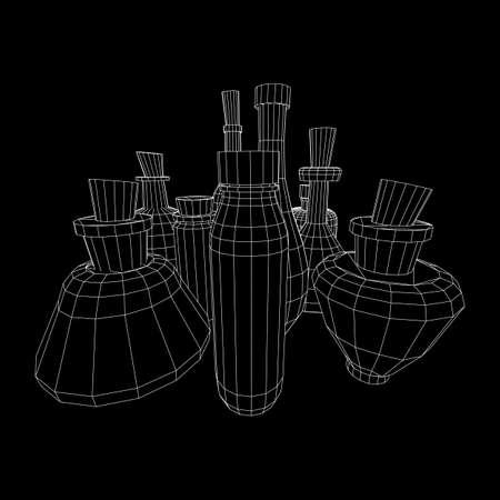 Set of wine bottles. Model wireframe low poly mesh vector illustration Stock Vector - 124763016