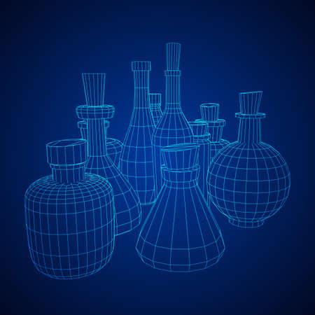 Set of wine bottles. Model wireframe low poly mesh vector illustration Stock Vector - 124763019