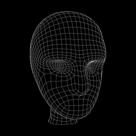 Human head medical scan. Model wireframe low poly mesh vector illustration