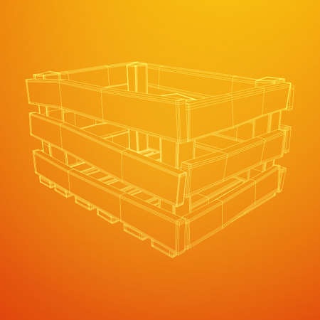 Wooden box for transportation and storage of products. Empty crate for fruits and vegetables. Model wireframe low poly mesh vector illustration