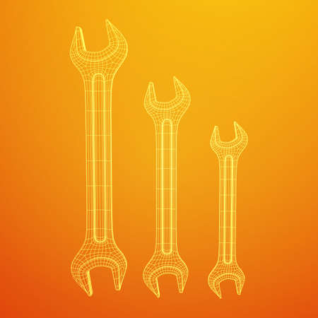 Wrench. Spanner repair tool. Mechanic or engineer instruments. Support service wireframe low poly mesh vector illustration