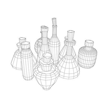 Set of wine bottles. Model wireframe low poly mesh vector illustration