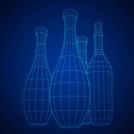 Set of wine bottles. Model wireframe low poly mesh vector illustration Stock Vector - 124763033