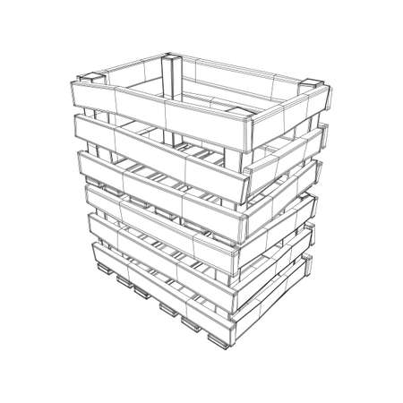 Wooden box for transportation and storage of products. Empty crate for fruits and vegetables. Model wireframe low poly mesh vector illustration Banque d'images - 124723168