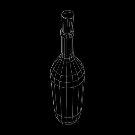 Wine bottle. Model wireframe low poly mesh vector illustration
