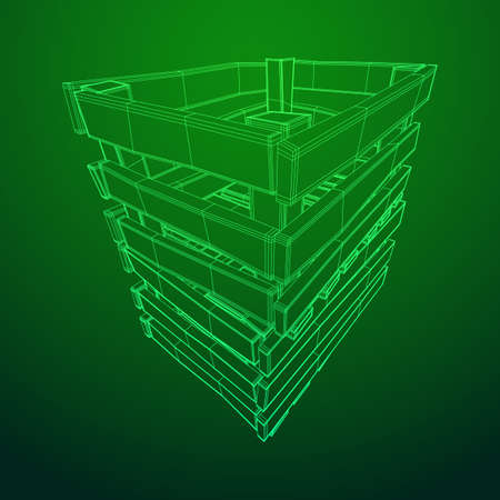 Wooden box for transportation and storage of products. Empty crate for fruits and vegetables. Model wireframe low poly mesh vector illustration Banque d'images - 124674854