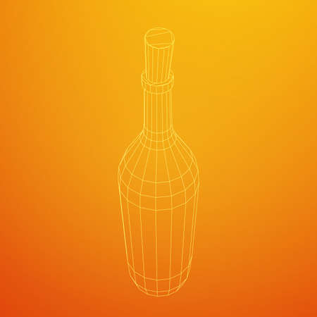 Wine bottle. Model wireframe low poly mesh vector illustration