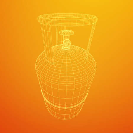 Flammable gas tank. Propane, butane, methane gas tank. Model wireframe low poly mesh vector illustration