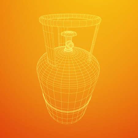 Flammable gas tank. Propane, butane, methane gas tank. Model wireframe low poly mesh vector illustration
