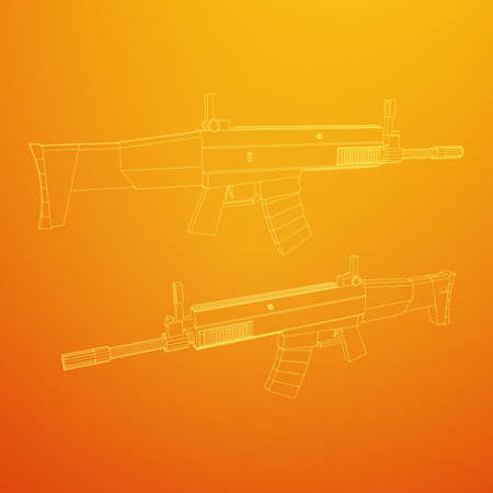 Assault rifle, automatic fire rifle model wireframe low poly mesh vector illustration Stock Illustratie