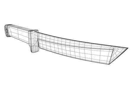 Blade tactical combat hunting survival bowie knife. Model wireframe low poly mesh vector illustration