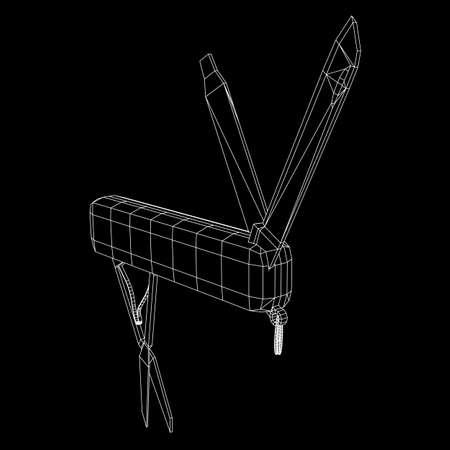 Multi-tool folding pocket knife, multipurpose penknife. Multifunctional tool model wireframe low poly mesh vector illustration