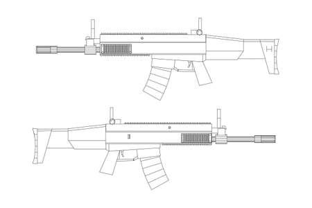 Fusil d'assaut, modèle de fusil à incendie automatique wireframe low poly mesh vector illustration Vecteurs