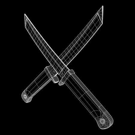 Blade tactical combat hunting survival bowie knife. Model wireframe low poly mesh vector illustration Stock fotó - 120090594