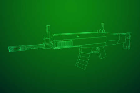Assault rifle, automatic fire rifle model wireframe low poly mesh vector illustration Ilustração